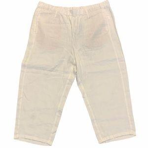 J.Jill Linen Capri Pants White Size Medium Petite